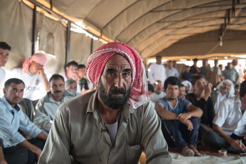 Yazidi refugees from Shingal in a camp in northern Syria (Rojava).