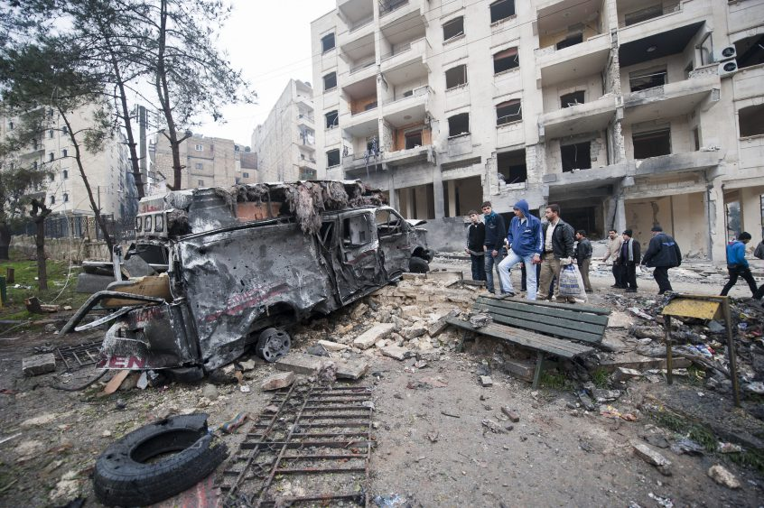 Bombed ambulance in Aleppo, Syria, 2012.